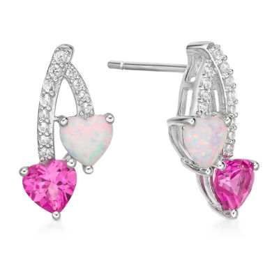 Lab Created Pink Opal Sterling Silver Heart Drop Earrings