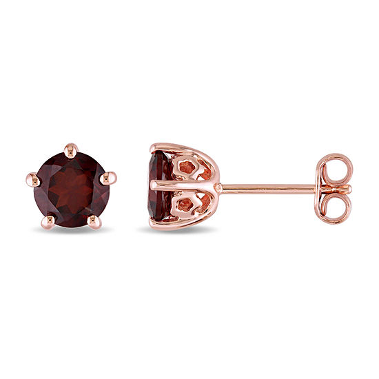 Laura Ashley Genuine Red Garnet 18K Gold Over Silver 6.9mm Stud Earrings