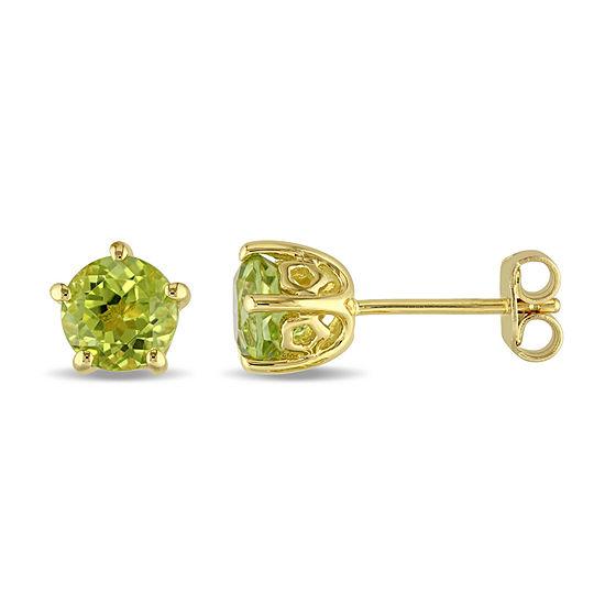 Laura Ashley Genuine Green Peridot 18K Gold Over Silver 6.9mm Stud Earrings