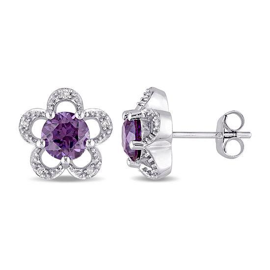 Laura Ashley Diamond Accent Lab Created Purple Alexandrite 10k Gold 11mm Stud Earrings