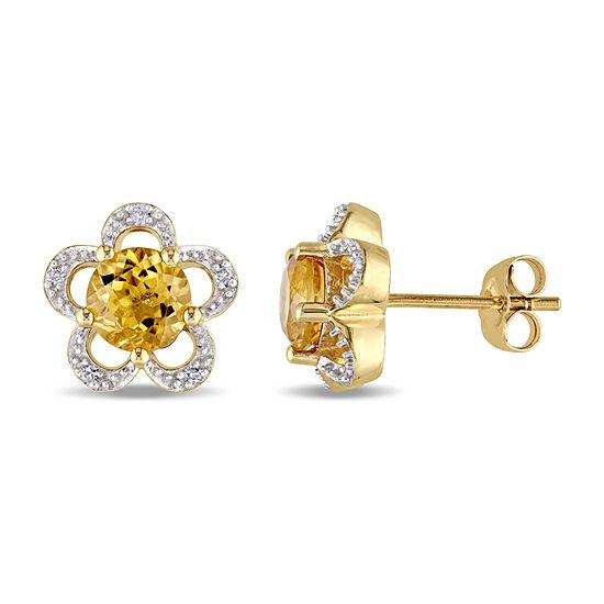 Laura Ashley Diamond Accent Genuine Yellow Citrine 10K Gold 11mm Stud Earrings