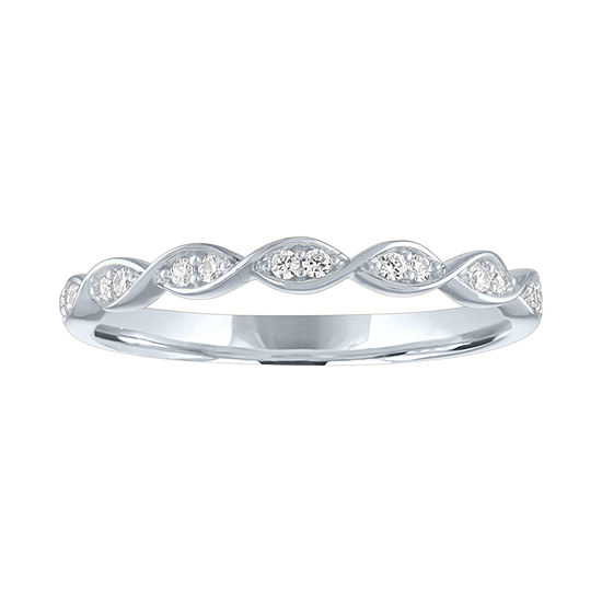10k White Gold Diamond Fashion Ring Stackable Band Style 1//10 ct
