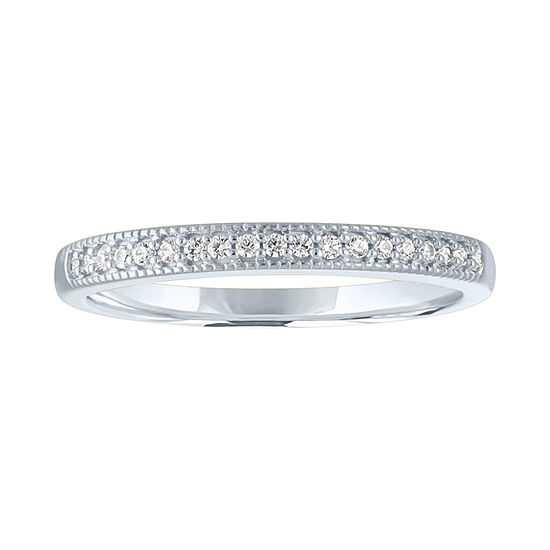 Womens 1/10 CT. T.W. Genuine White Diamond 10K White Gold Stackable Ring