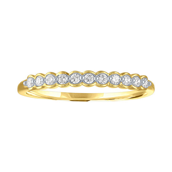 Womens 1/10 CT. T.W. Genuine White Diamond 10K Gold Stackable Ring