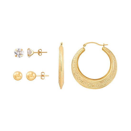 White Cubic Zirconia 10K Gold Round Earring Set