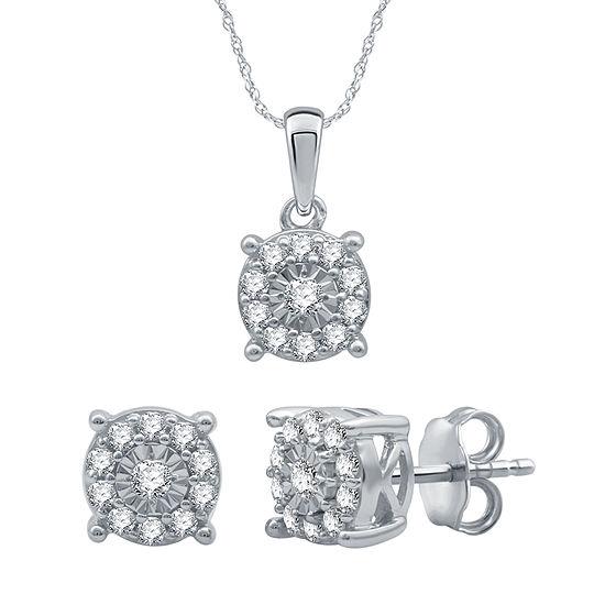 1/2 CT. T.W. Genuine Diamond Sterling Silver 2-pc. Jewelry Set