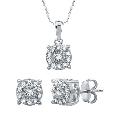 1/2 CT. T.W. Genuine Diamond Sterling Silver 2-pc. Jewelry Set, One Size