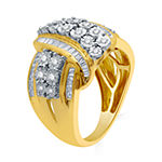 Womens 1 CT. T.W. Genuine Diamond 14K Gold Over Silver Cocktail Ring