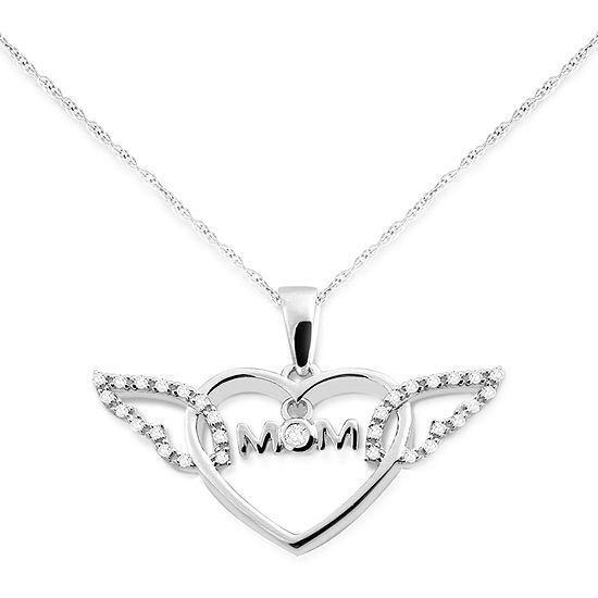 Womens 1 10 Ct Tw Genuine White Diamond Sterling Silver Heart Pendant Necklace