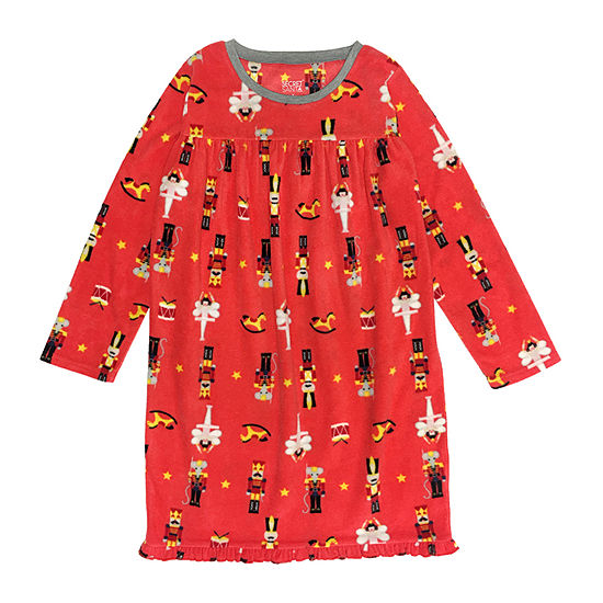Secret Santa The Nutcracker Family Girls Microfleece Nightgown Long Sleeve Crew Neck