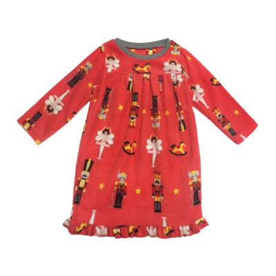 Secret Santa The Nutcracker Family Girls Microfleece Nightgown Long Sleeve Crew Neck