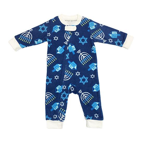 Hanukkah Family Unisex Kids Microfiber One Piece Pajama Long Sleeve