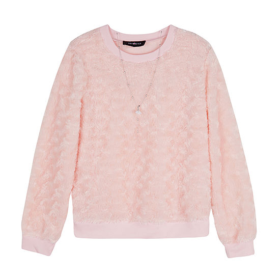 by&by girl Girls Crew Neck Long Sleeve Blouse Big Kid