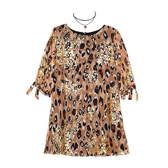 by&by girl Long Sleeve Drop Shoulder Sleeve Shift Dress - Big Kid