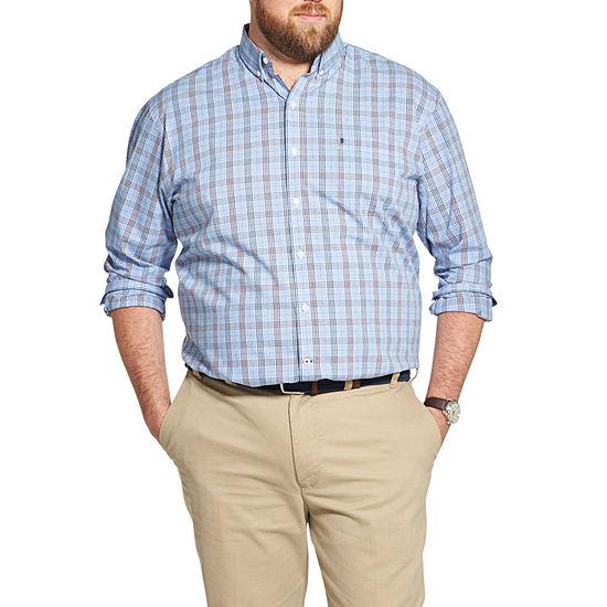IZOD Big and Tall Premium Essentials Stretch Plaid Button-Down Shirt