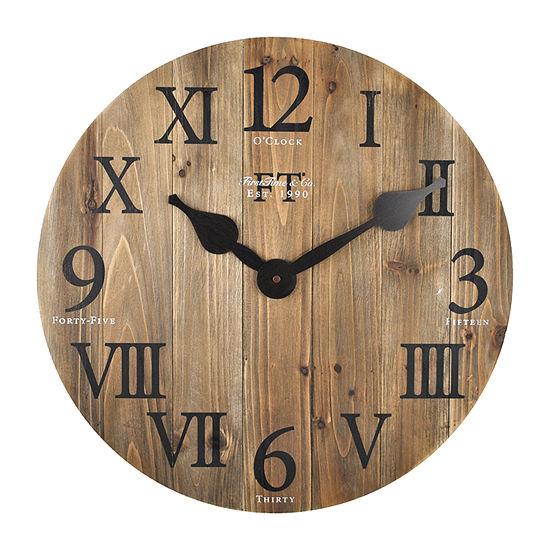 Firstime Rustic Barn Wood Wall Clock 99686