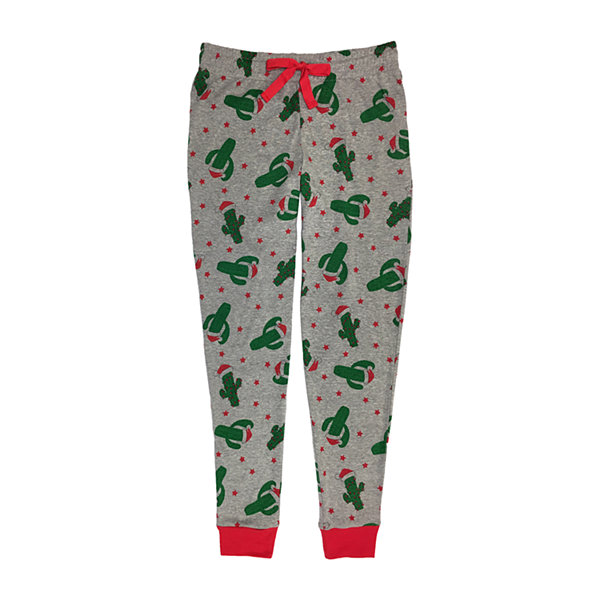 Secret Santa Feliz Navidad Family Womens-Petite Pant Pajama Set 2-pc. Long Sleeve