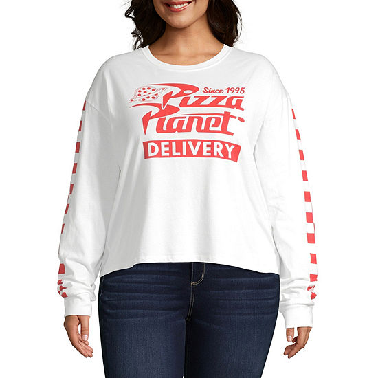 Womens Crew Neck Long Sleeve Toy Story Graphic T-Shirt-Juniors