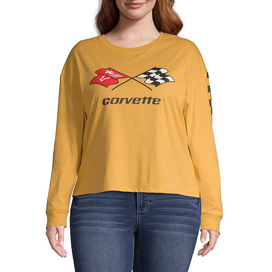 Juniors Womens Crew Neck Long Sleeve Graphic T-Shirt