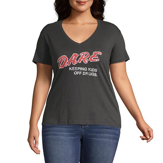 Changes-Juniors Plus Womens V Neck Short Sleeve Graphic T-Shirt