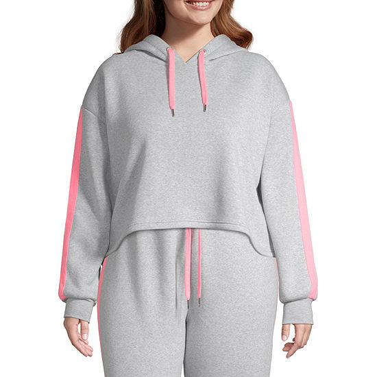 Cut And Paste-Juniors Plus Womens Long Sleeve Fleece Hoodie
