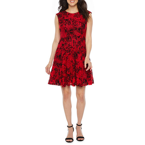 Danny & Nicole Sleeveless Flocked Velvet Floral Lace Fit & Flare Dress