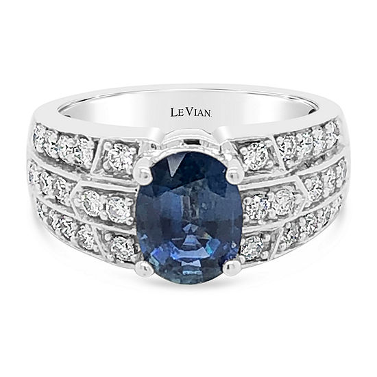 LIMITED QUANTITIES! Le Vian Grand Sample Sale™ Ring featuring Blueberry Sapphire™ Vanilla Diamonds® set in 14K Vanilla Gold®