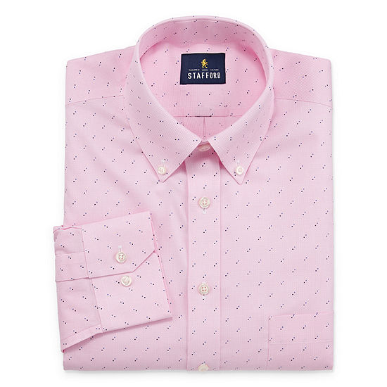 Stafford Mens Non-Iron Cotton Pinpoint Oxford Button Down Dress Shirt