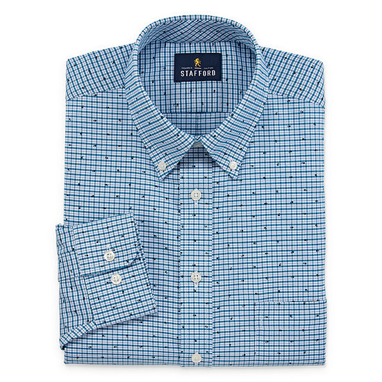 Stafford Mens Wrinkle Free Oxford Button Down Collar Big and Tall Dress Shirt