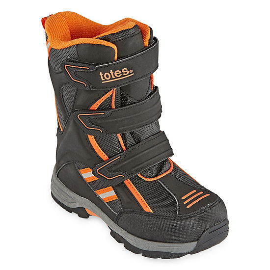 UNISEX BLACK AND ORANGE SNOW WINTER BOOTS INSULATED RATED 5F CHILD SIZE 1 NEW!