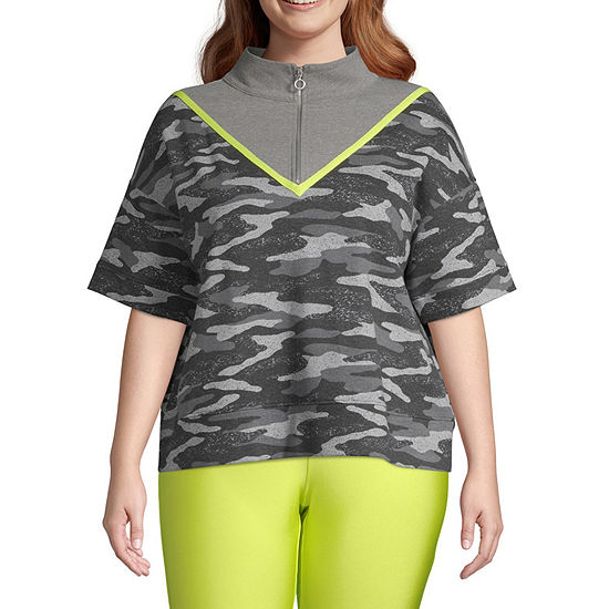 Flirtitude Juniors Plus Womens Mock Neck Short Sleeve Sweatshirt