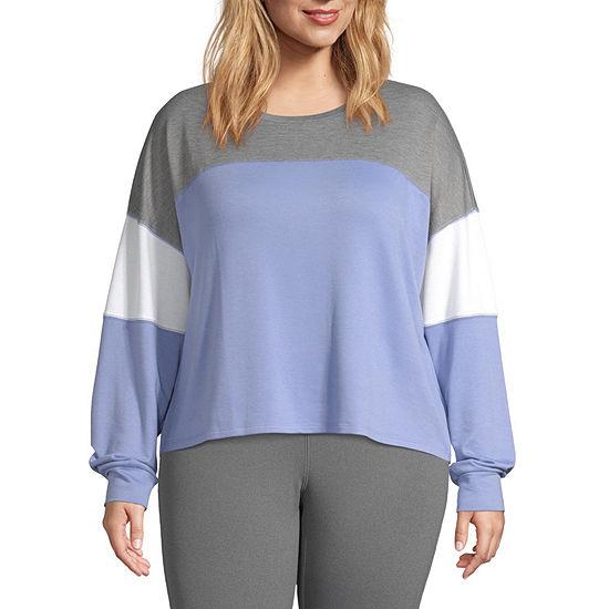 Flirtitude-Womens Crew Neck Long Sleeve T-Shirt Juniors Plus