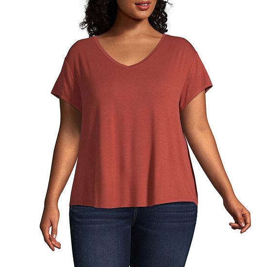 Arizona-V Neck Short Sleeve T-Shirt Juniors Plus