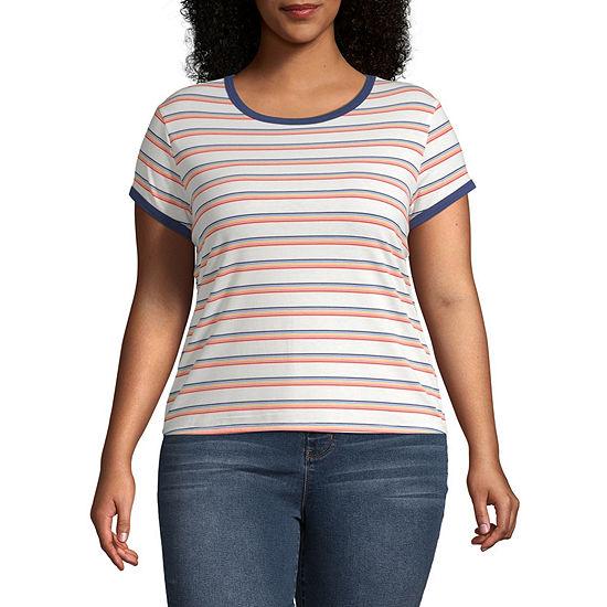 Arizona Womens Crew Neck Short Sleeve T Shirt Juniors Plus