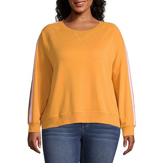 Arizona Juniors Plus Womens Crew Neck Long Sleeve Sweatshirt