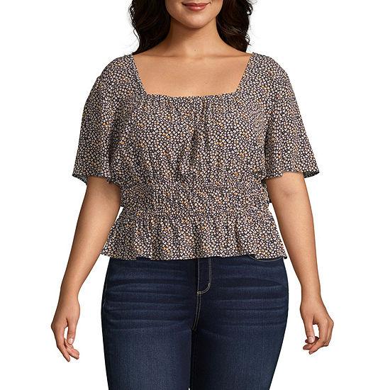 Arizona Womens Square Neck Short Sleeve Blouse-Juniors Plus