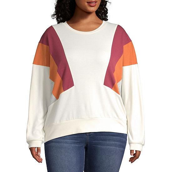 Arizona Juniors Plus Womens Round Neck Long Sleeve Sweatshirt