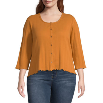 Arizona Womens 3/4 Sleeve Button-Front Shirt-Juniors Plus