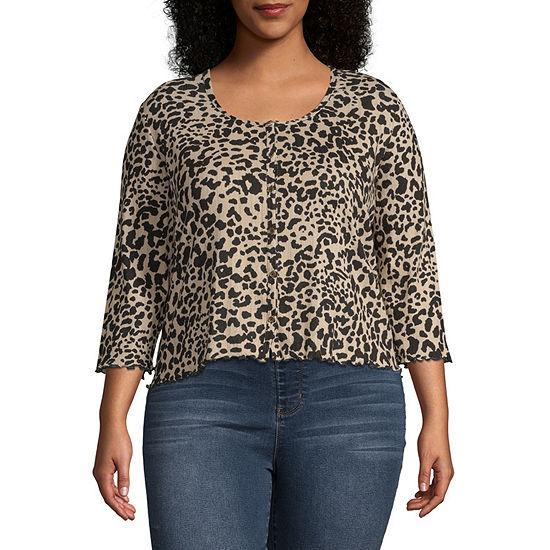 Arizona Womens 3 4 Sleeve Button Front Shirt Juniors Plus