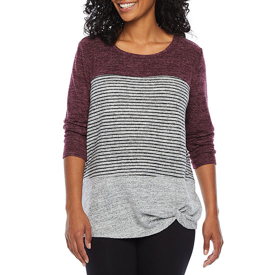 St. John's Bay Active Petite-Womens Round Neck Long Sleeve T-Shirt