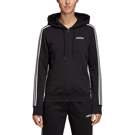 adidas Stripe Fleece Womens Long Sleeve Knit Hoodie