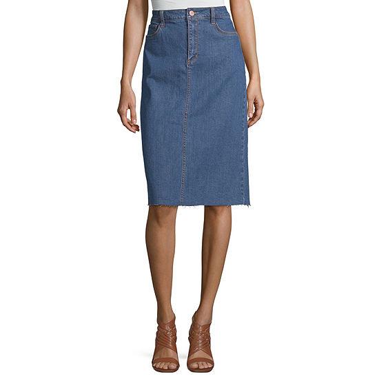 a.n.a Womens Raw Hem Midi Denim Skirt