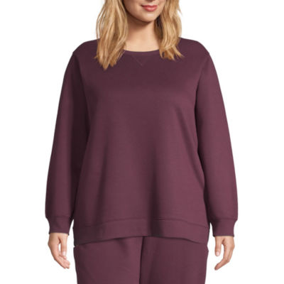 St. John's Bay Active-Plus Womens Crew Neck Long Sleeve Pullover Sweater