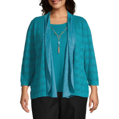 Alfred Dunner Walnut Grove Womens Round Neck 3/4 Sleeve Layered Sweaters-Plus