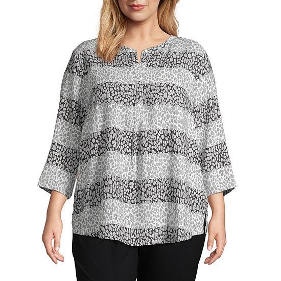 Liz Claiborne 3/4 Sleeve Blouse - Plus