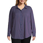 Liz Claiborne Simply Womens Long Sleeve Boyfriend Shirt-Plus