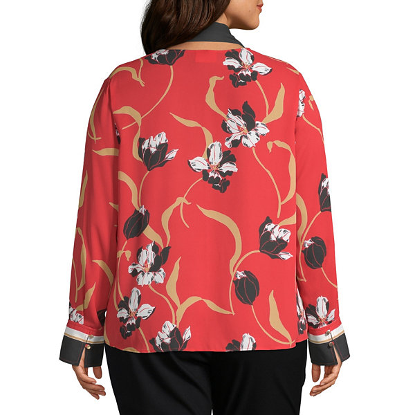 Liz Claiborne Womens V Neck Long Sleeve Blouse-Plus
