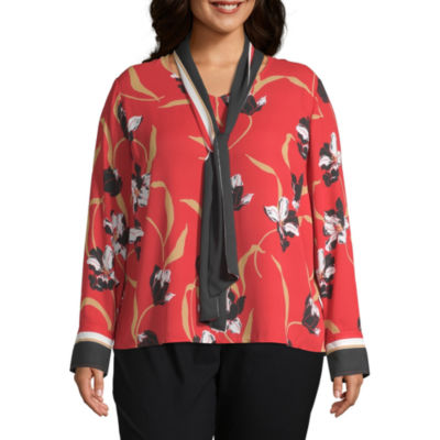 Liz Claiborne Long Sleeve Bow Blouse - Plus