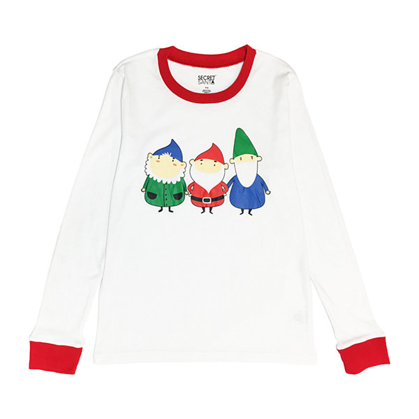 Secret Santa Gnomes Family Womens-Petite Pant Pajama Set 2-pc. Long Sleeve