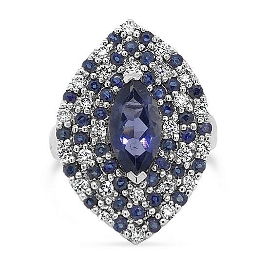 LIMITED QUANTITIES! Le Vian Grand Sample Sale™ Ring featuring Iolite Blueberry Sapphire™ Vanilla Diamonds® set in 14K Vanilla Gold®